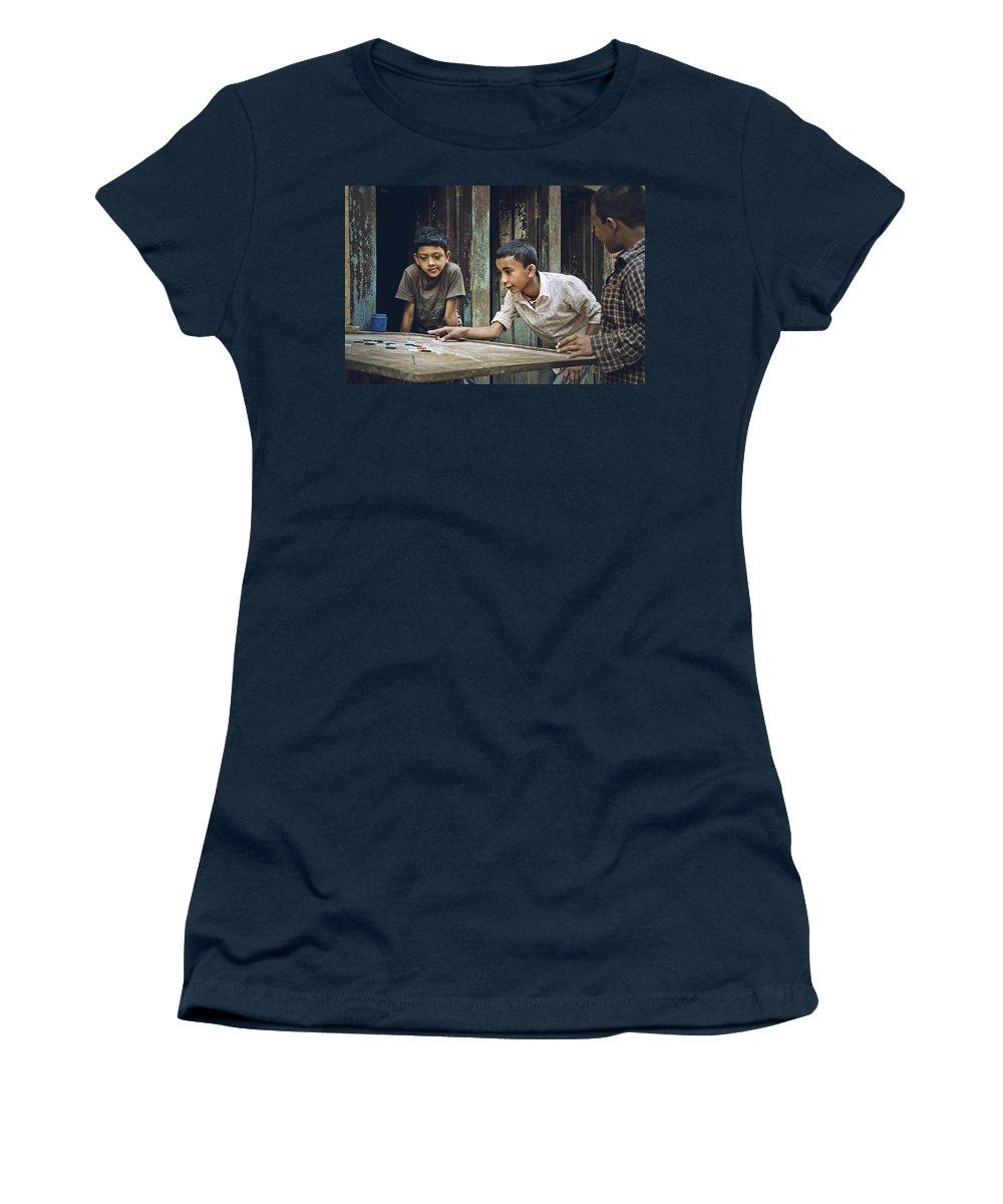 Valerie Rosen Women's T-Shirt featuring the photograph Carrom Boys by Valerie Rosen