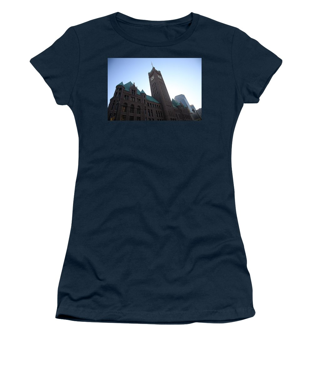 America Women's T-Shirt featuring the photograph Castle And Clock Tower by Frank Romeo