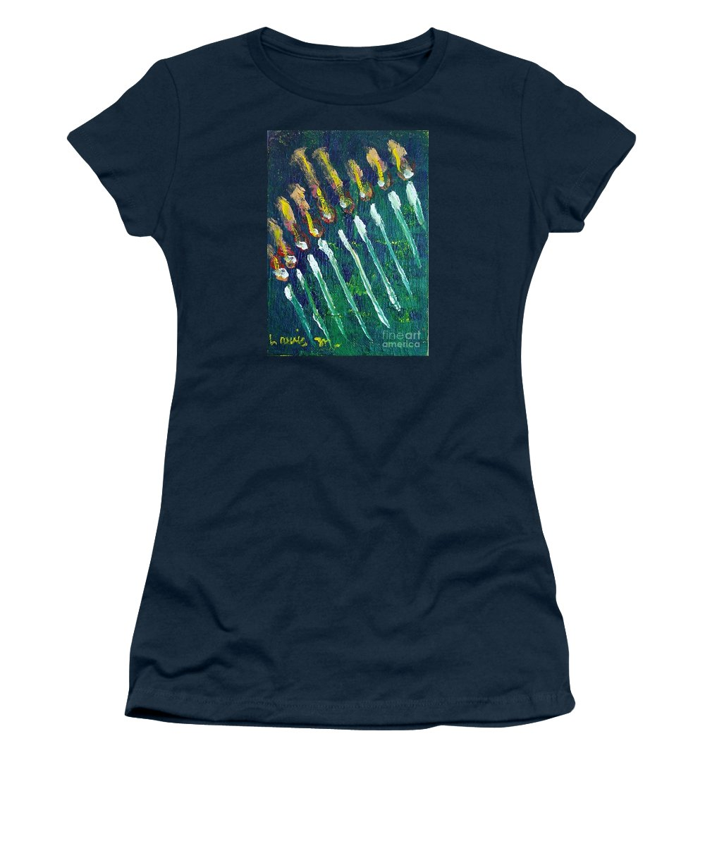 Chanukah Women's T-Shirt (Athletic Fit) featuring the painting Chanukiah In The Dark by Laurie Morgan