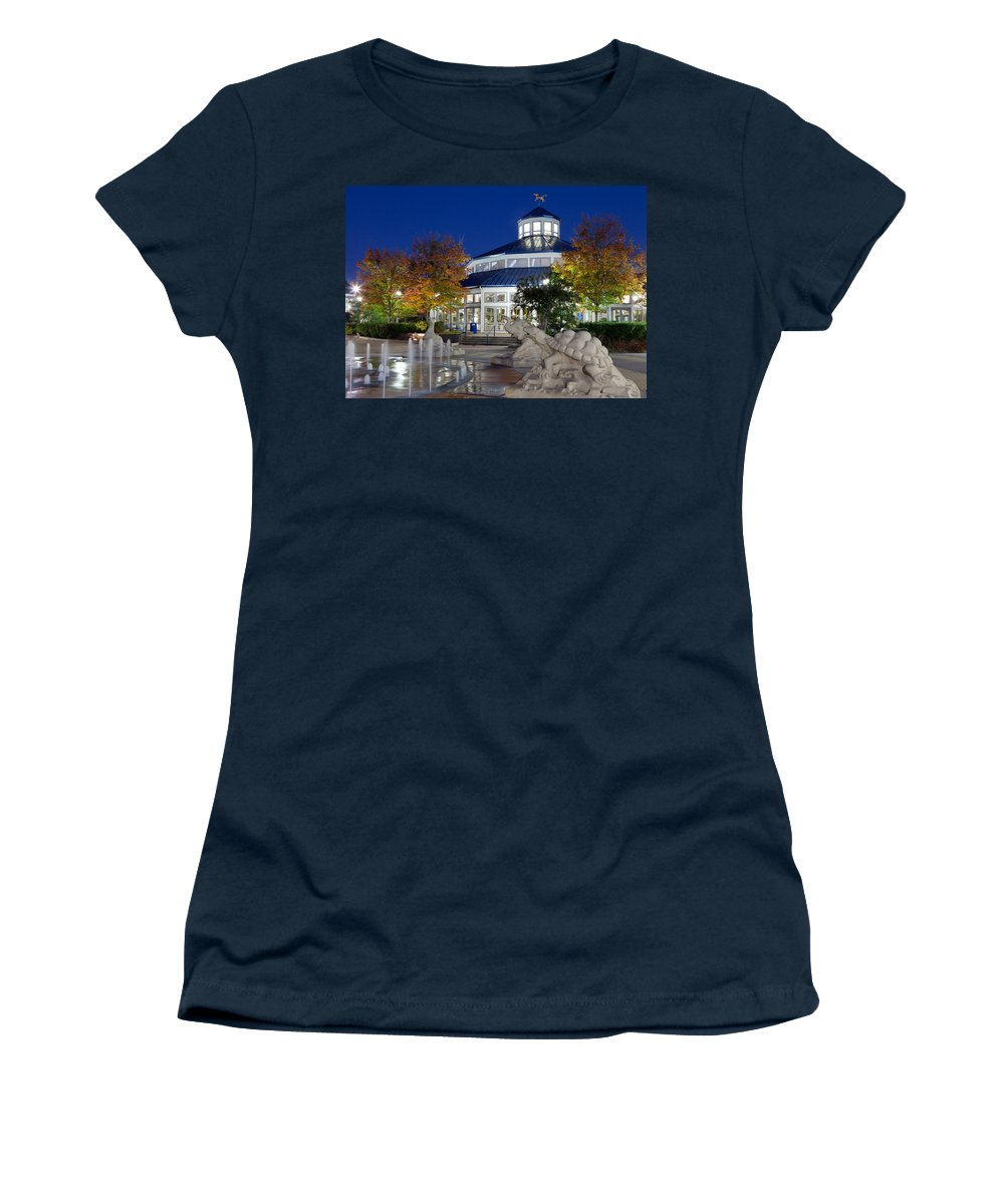Coolidge Park Women's T-Shirt featuring the photograph Chattanooga Park At Night by Melinda Fawver