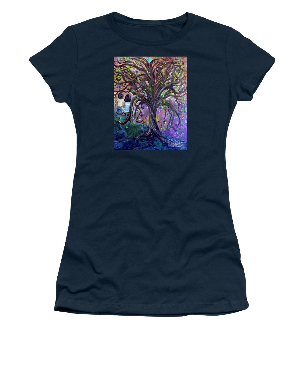 Child Women's T-Shirt featuring the painting Children Under The Fantasy Tree With Jackie Joyner-kersee by Eloise Schneider Mote