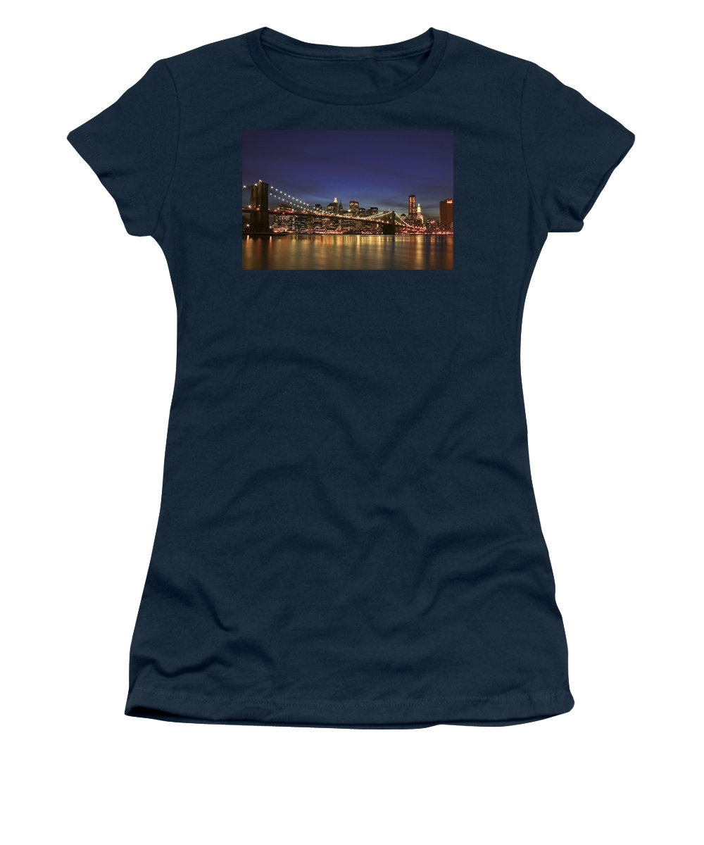 Bridge Women's T-Shirt featuring the photograph City Of Lights by Evelina Kremsdorf