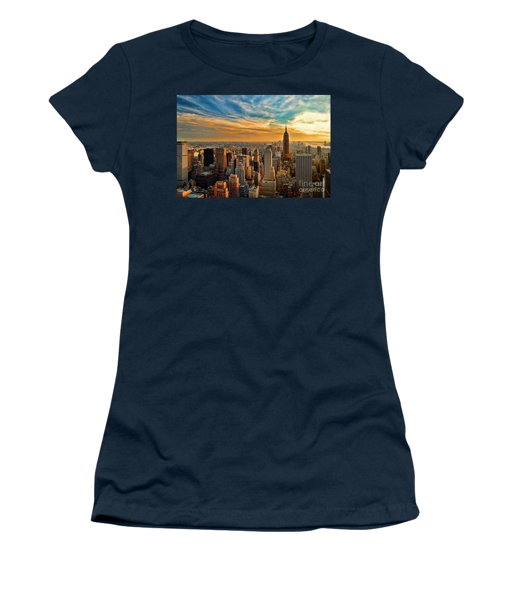 New York City Women's T-Shirt featuring the photograph City Sunset New York City Usa by Sabine Jacobs