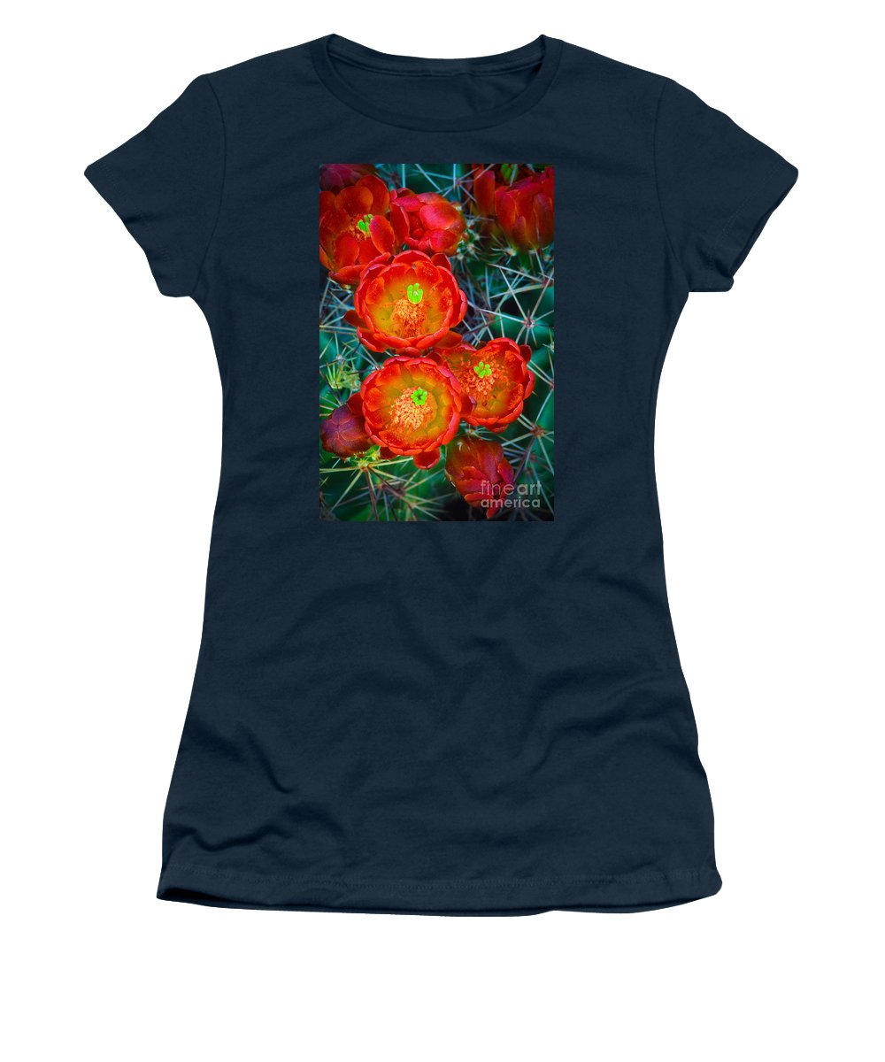 America Women's T-Shirt featuring the photograph Claret Cup by Inge Johnsson