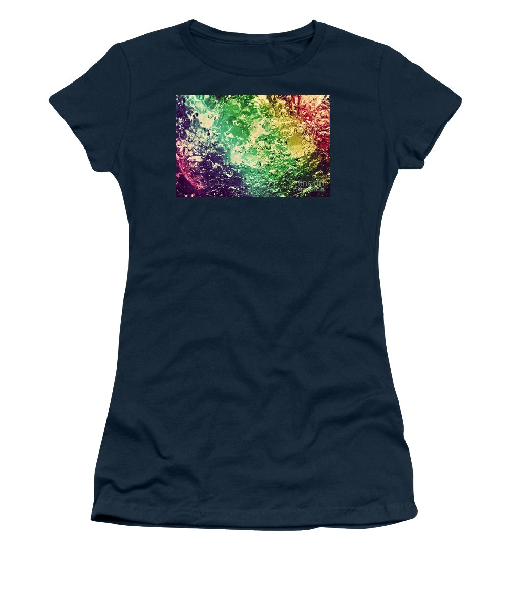Water Women's T-Shirt featuring the photograph Colorful Splashing Pouring Water With Bubbles by Michal Bednarek