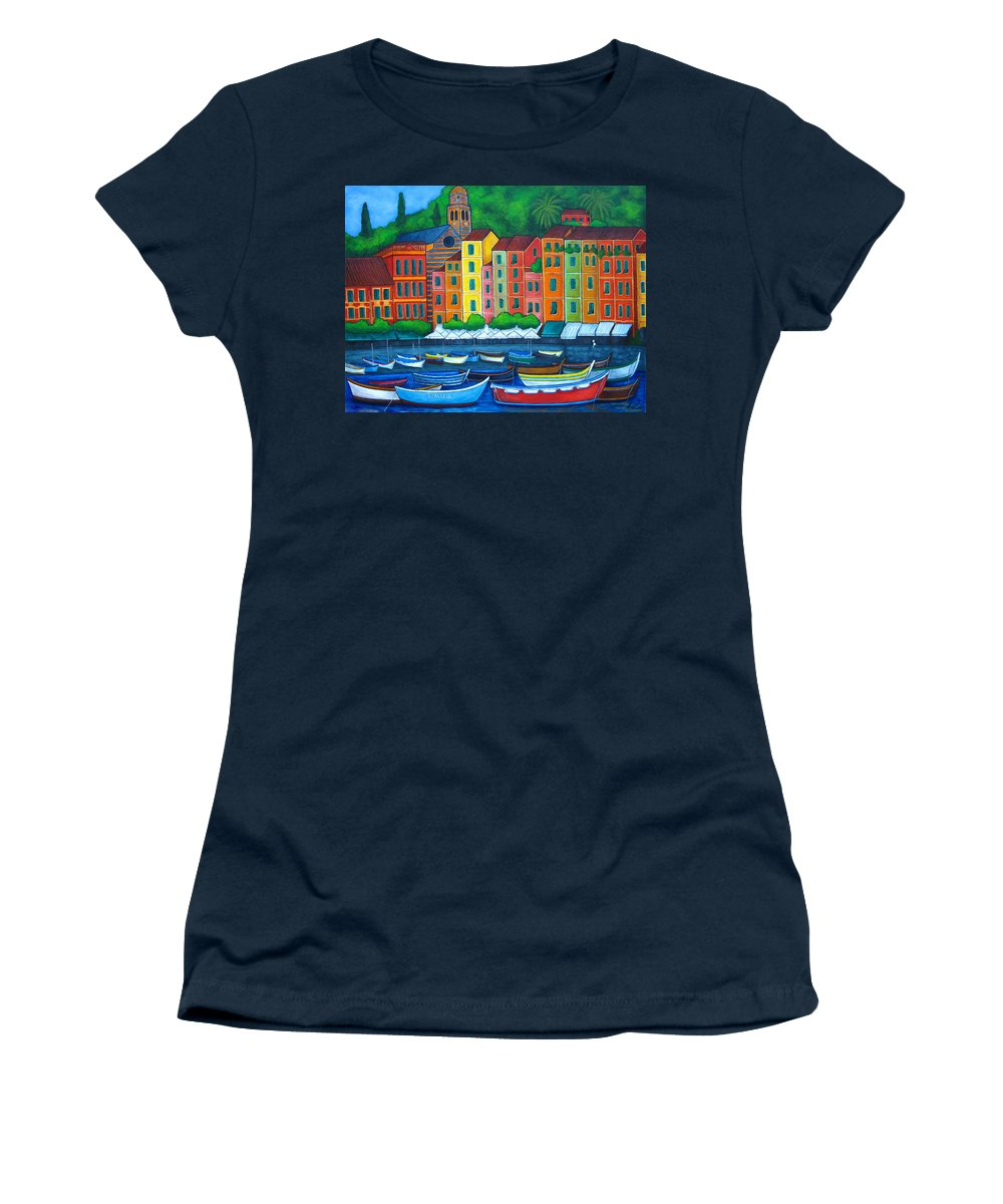 Portofino Women's T-Shirt (Athletic Fit) featuring the painting Colours Of Portofino by Lisa Lorenz