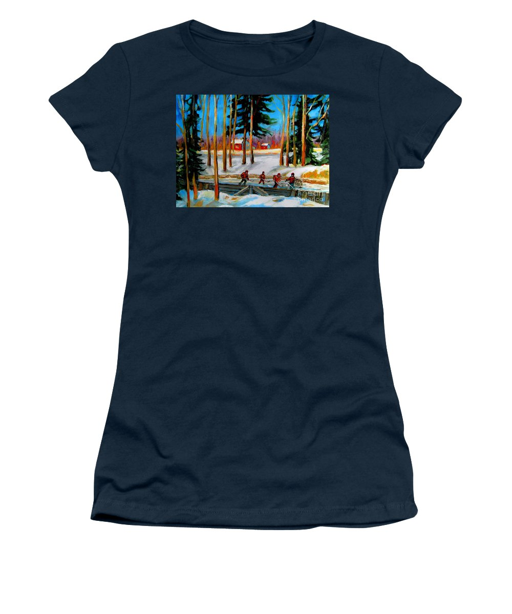 Country Hockey Rink Women's T-Shirt (Athletic Fit) featuring the painting Country Hockey Rink by Carole Spandau