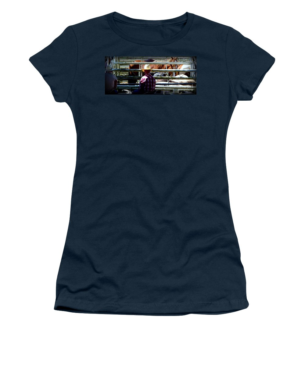 St. Paul Rodeo Time Women's T-Shirt featuring the photograph Cowboys Corral by Susan Garren