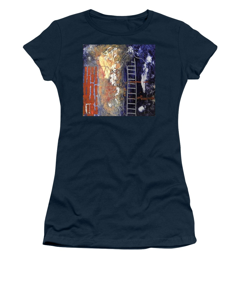 Abstract Women's T-Shirt featuring the painting Crossing Over by Sue McElligott