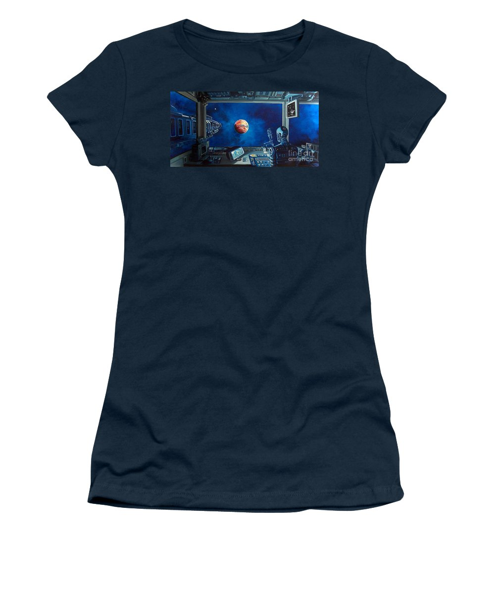 Fantasy Women's T-Shirt (Athletic Fit) featuring the painting Crying Robot by Murphy Elliott
