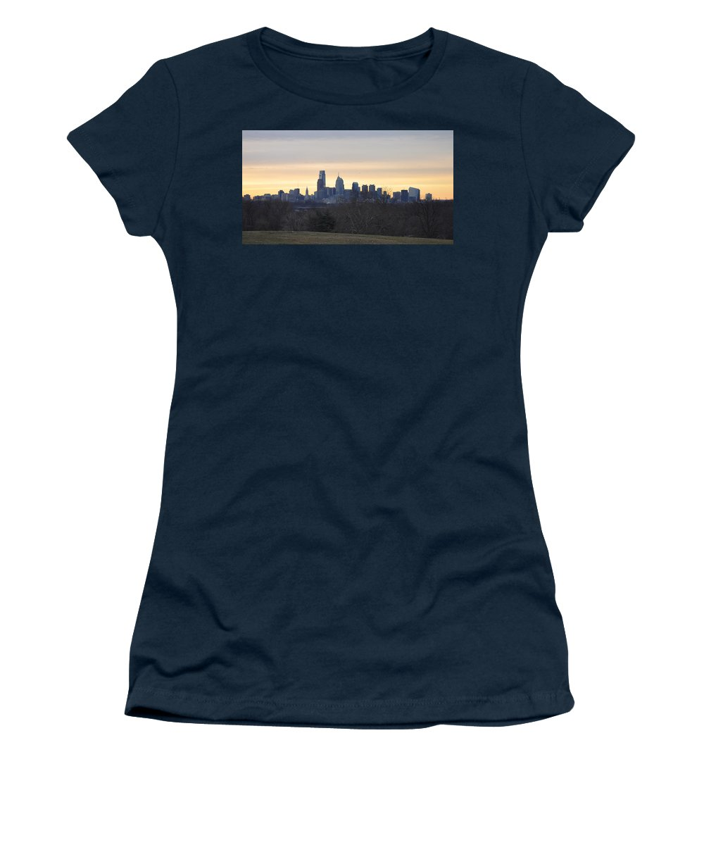 Dawn Women's T-Shirt featuring the photograph Dawn In Philadelphia by Bill Cannon