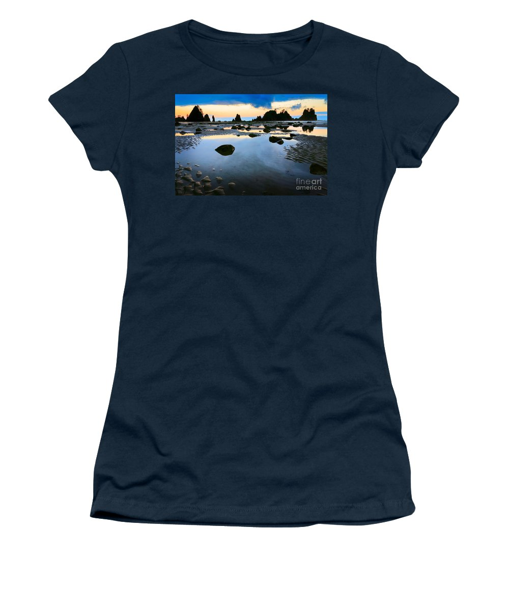 America Women's T-Shirt (Athletic Fit) featuring the photograph Dawn Seascape by Inge Johnsson