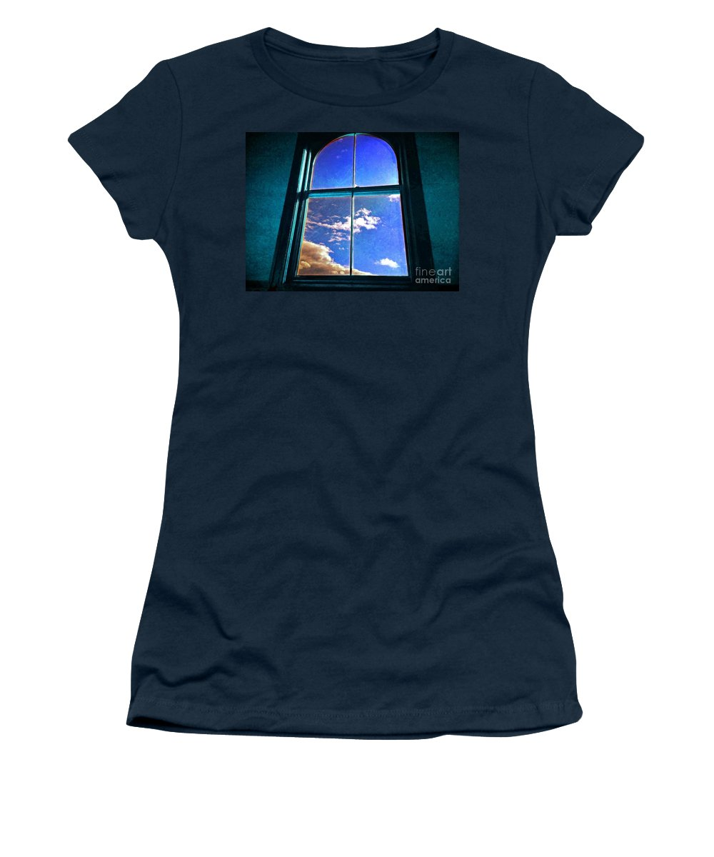 I Am Always Starring Out The Window Day Dreaming Greeting Card Women's T-Shirt featuring the photograph Day Dreaming by Becky Lupe