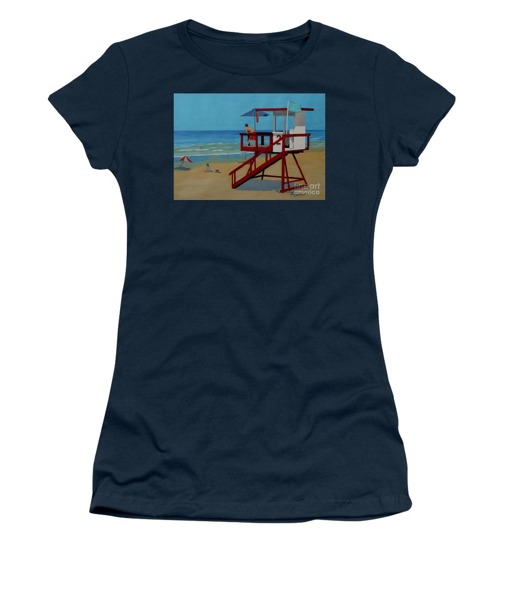 Lifeguard Women's T-Shirt featuring the painting Distracted Lifeguard by Anthony Dunphy
