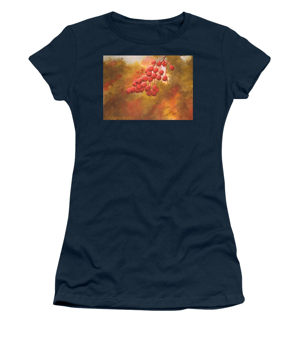 Rick Huotari Women's T-Shirt featuring the painting Door County Cherries by Rick Huotari