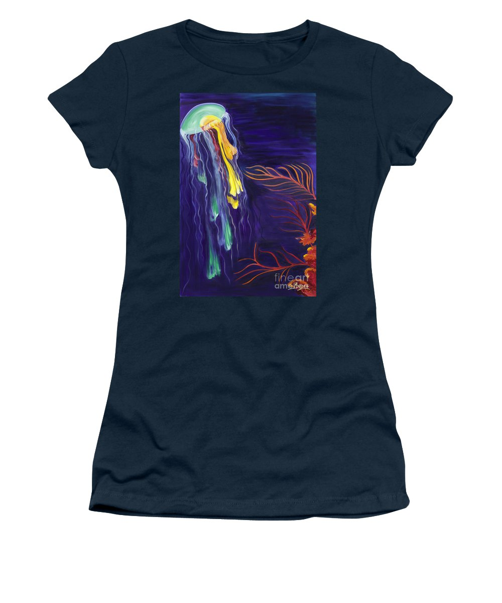 Jelly Fish Women's T-Shirt featuring the painting Drifting by Christine Baeza