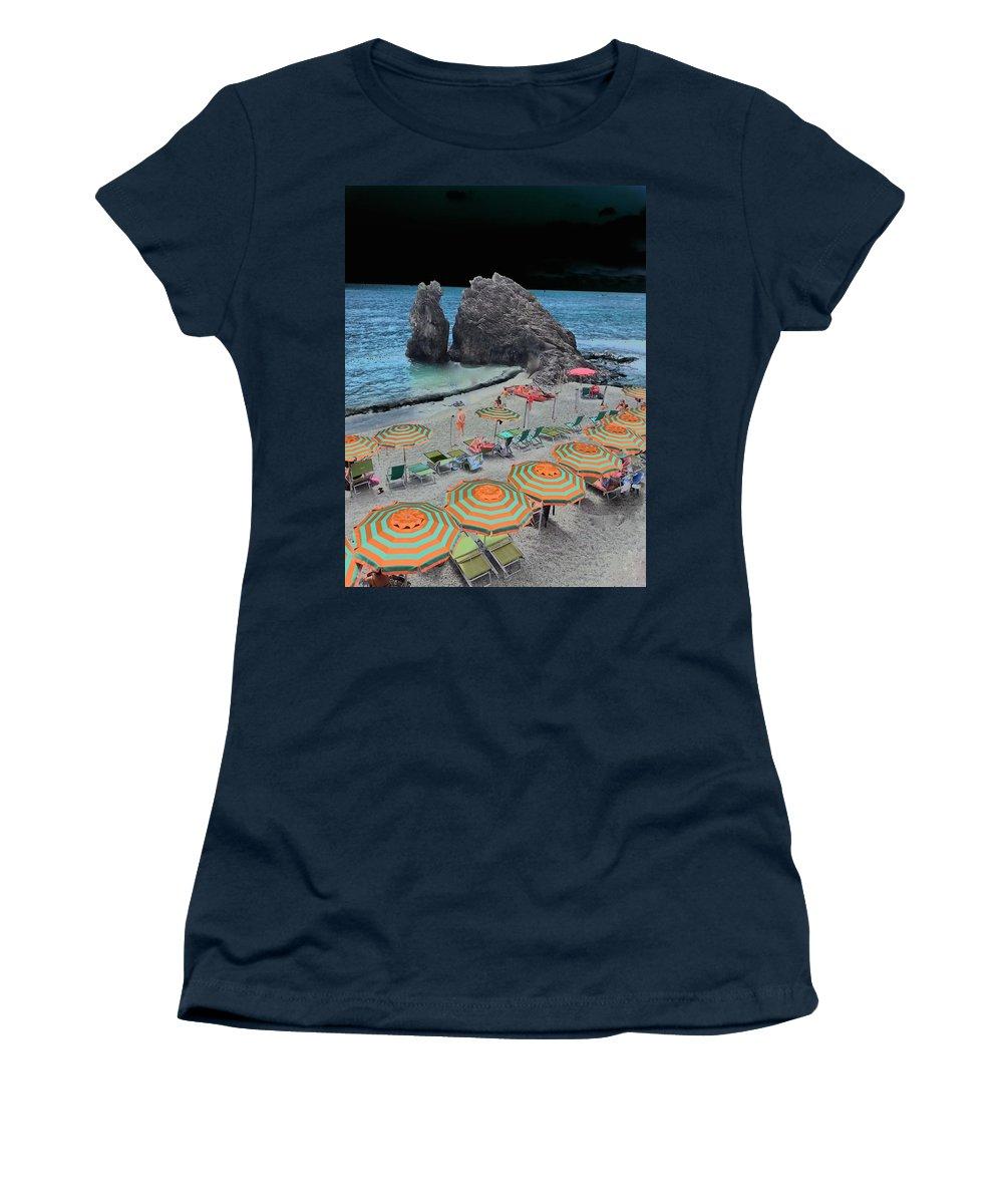 Mark J Dunn Women's T-Shirt featuring the photograph Cinque Terre Beach One by Mark J Dunn
