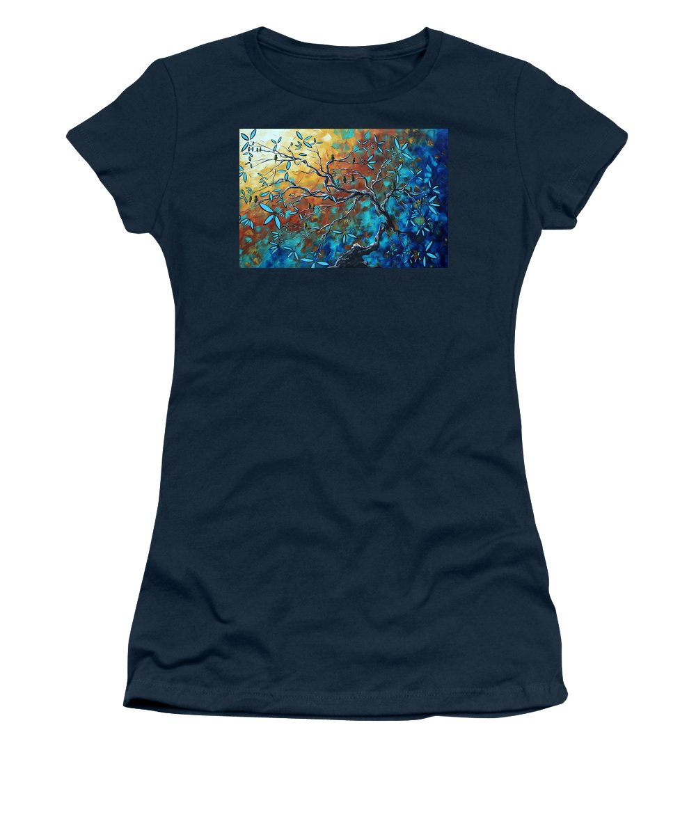 Art Women's T-Shirt featuring the painting Enormous Abstract Bird Art Original Painting Where The Heart Is By Madart by Megan Duncanson