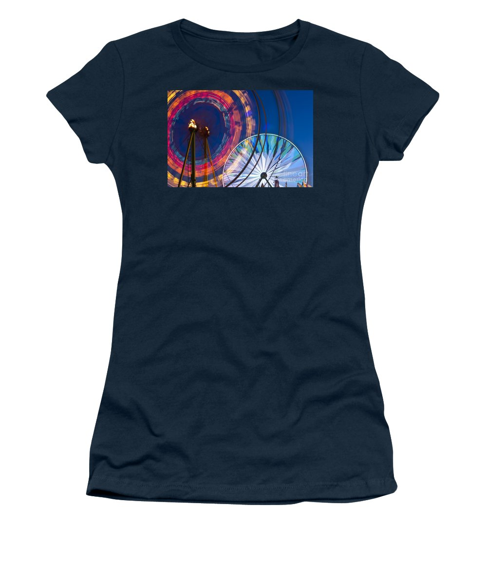 Americana Women's T-Shirt featuring the photograph Evergreen State Fair Ferris Wheel by Jim Corwin
