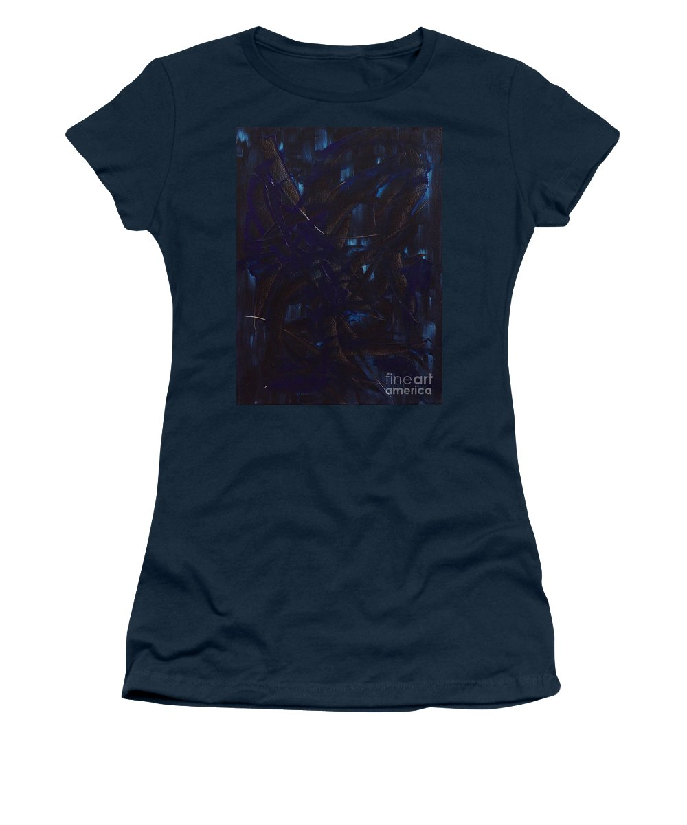 Abstract Women's T-Shirt (Athletic Fit) featuring the painting Expectations Blue by Dean Triolo