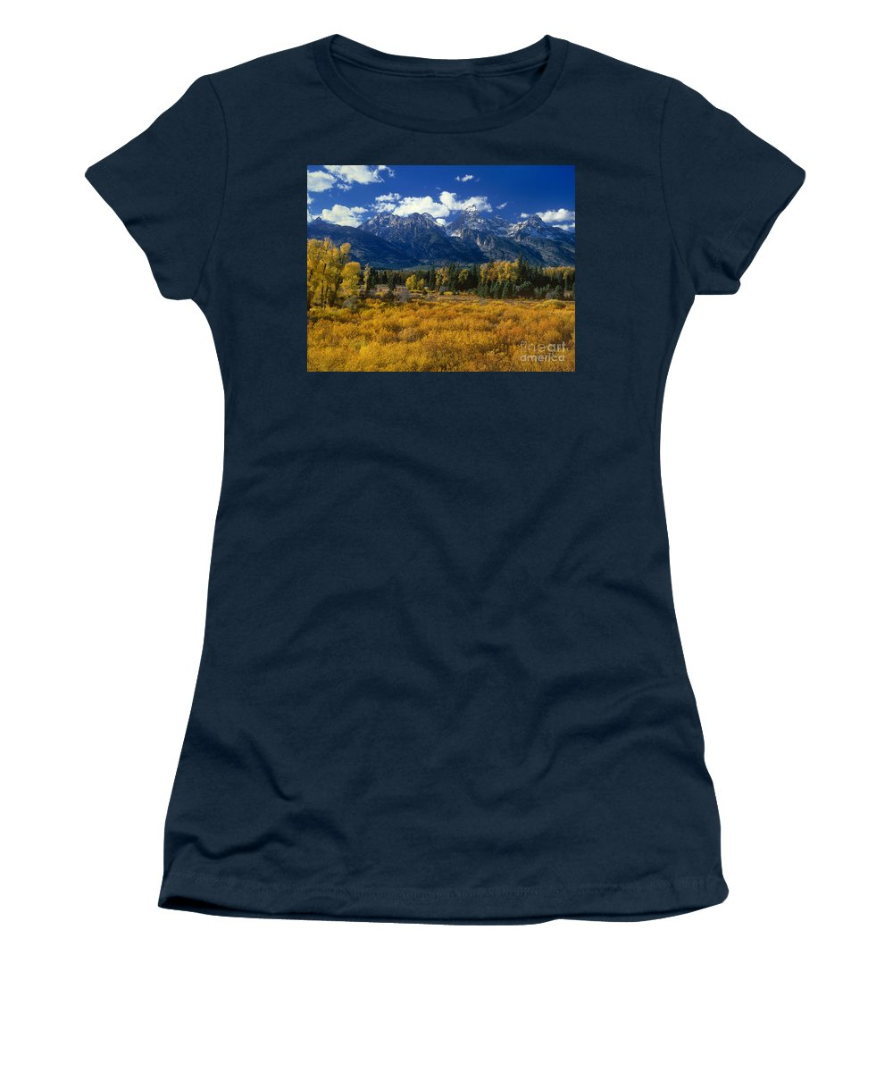 Dave Welling Women's T-Shirt featuring the photograph Fall Color Tetons Blacktail Ponds Grand Tetons Nationa by Dave Welling