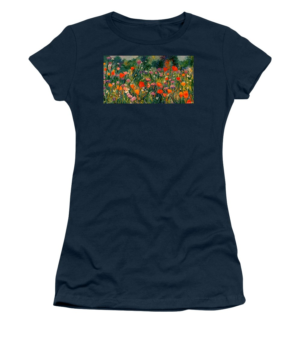 Flowers Women's T-Shirt (Athletic Fit) featuring the painting Field Of Flowers by Kendall Kessler