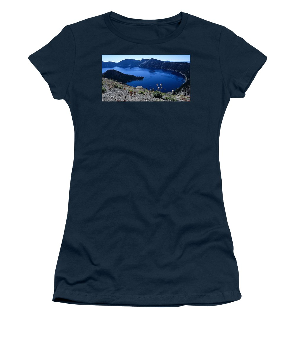 Crater Lake Women's T-Shirt featuring the photograph Flora Of Crater Lake by Sharon Elliott