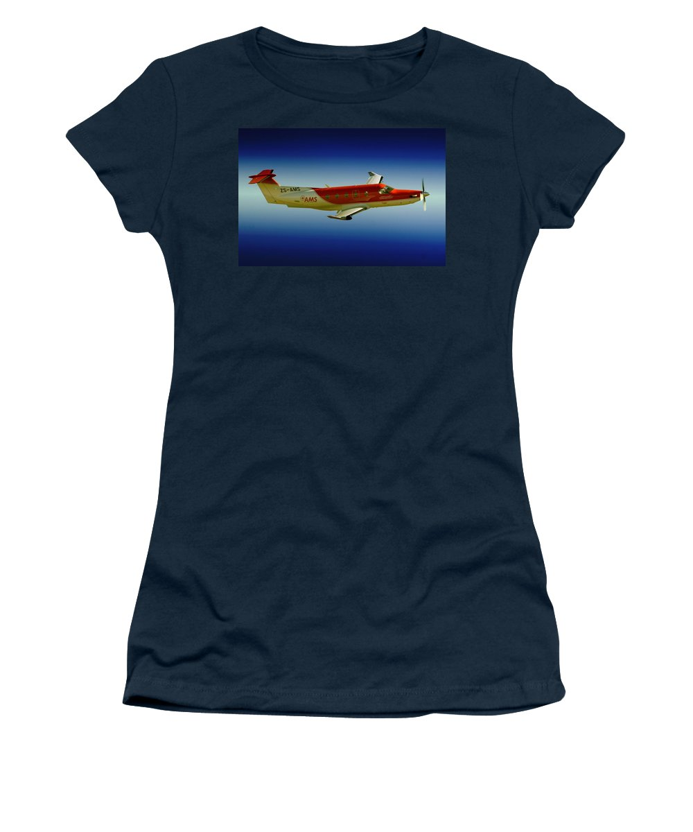 Pilatus Pc 12 Women's T-Shirt featuring the photograph Flying by Paul Job