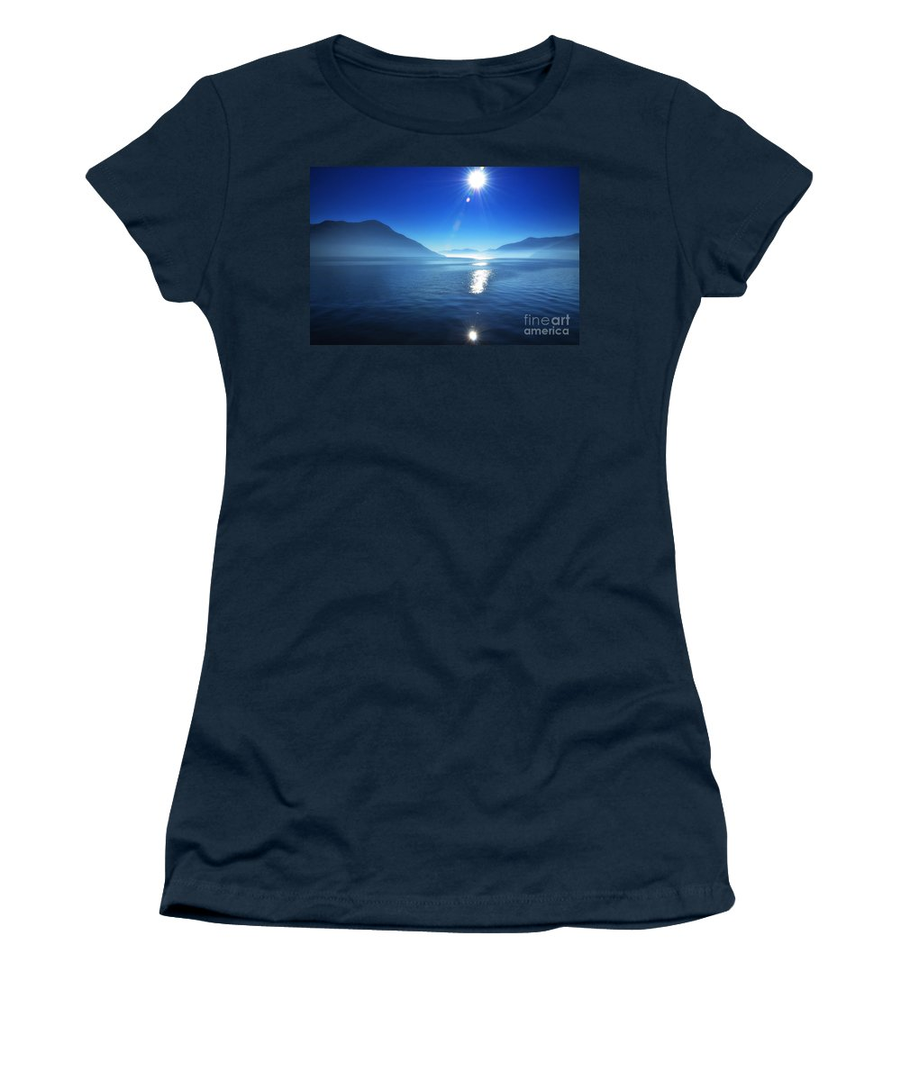 Lake Women's T-Shirt featuring the photograph Foggy Lake With Sun by Mats Silvan