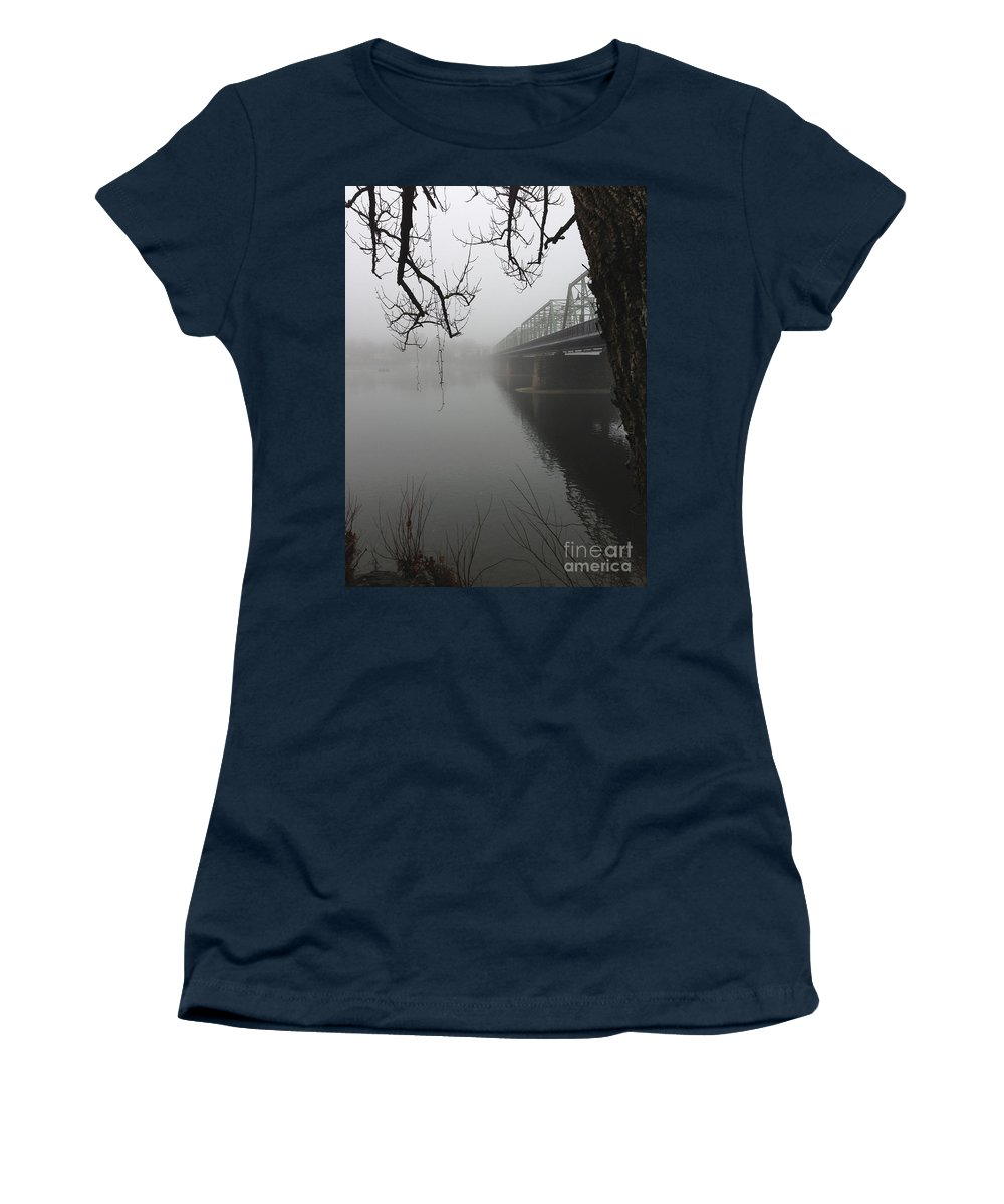 Boats Women's T-Shirt featuring the photograph Foggy Morning In Paradise - The Bridge by Christopher Plummer
