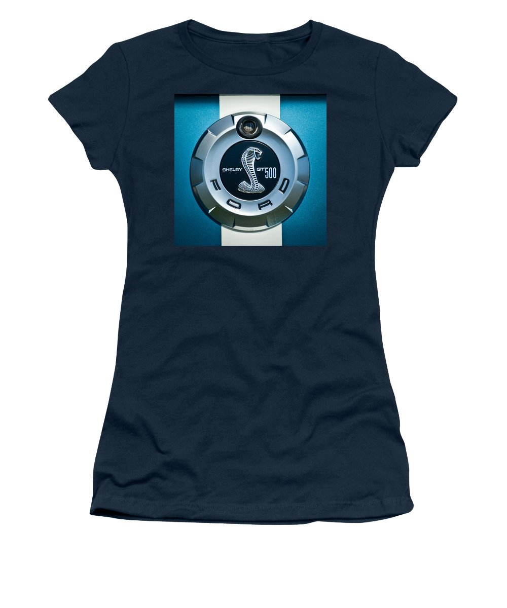 Ford Shelby Gt 500 Cobra Women's T-Shirt featuring the photograph Ford Shelby Gt 500 Cobra Emblem by Jill Reger