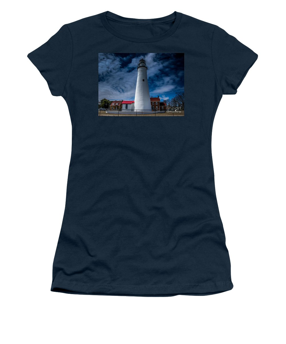 Lighthouse Women's T-Shirt (Athletic Fit) featuring the photograph Fort Gratiot Lighthouse From The Water Side by Ronald Grogan