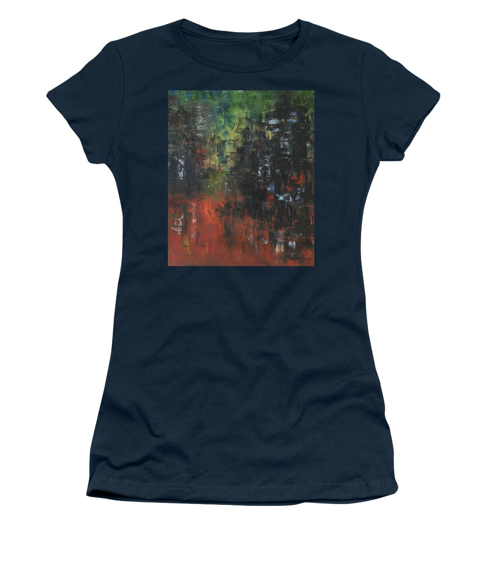Cityscape Women's T-Shirt featuring the painting Friday Night by Kim Sobat