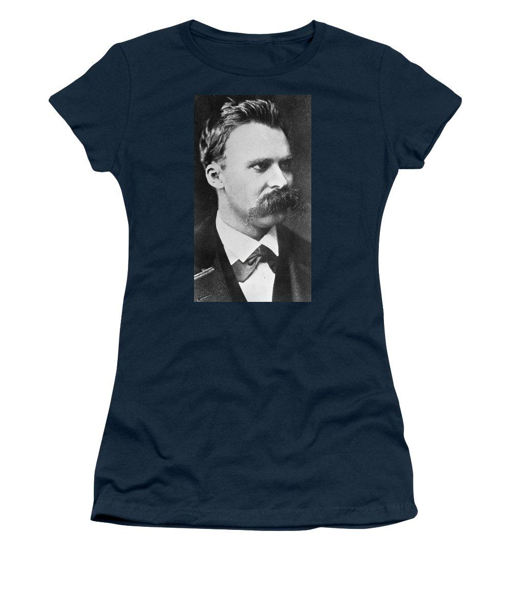 Poet; German Philosopher; Professor Of Philology; Academic; Atheist; Atheism; Nihilist; Nihilism; Portrait; Male; Scholar; Moustache Women's T-Shirt featuring the photograph Friedrich Wilhelm Nietzsche by French Photographer