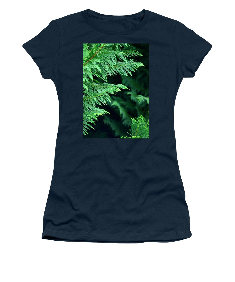 Fronds Of The Leyland Cypress Women's T-Shirt featuring the photograph Fronds Of The Leyland Cypress by Maria Urso