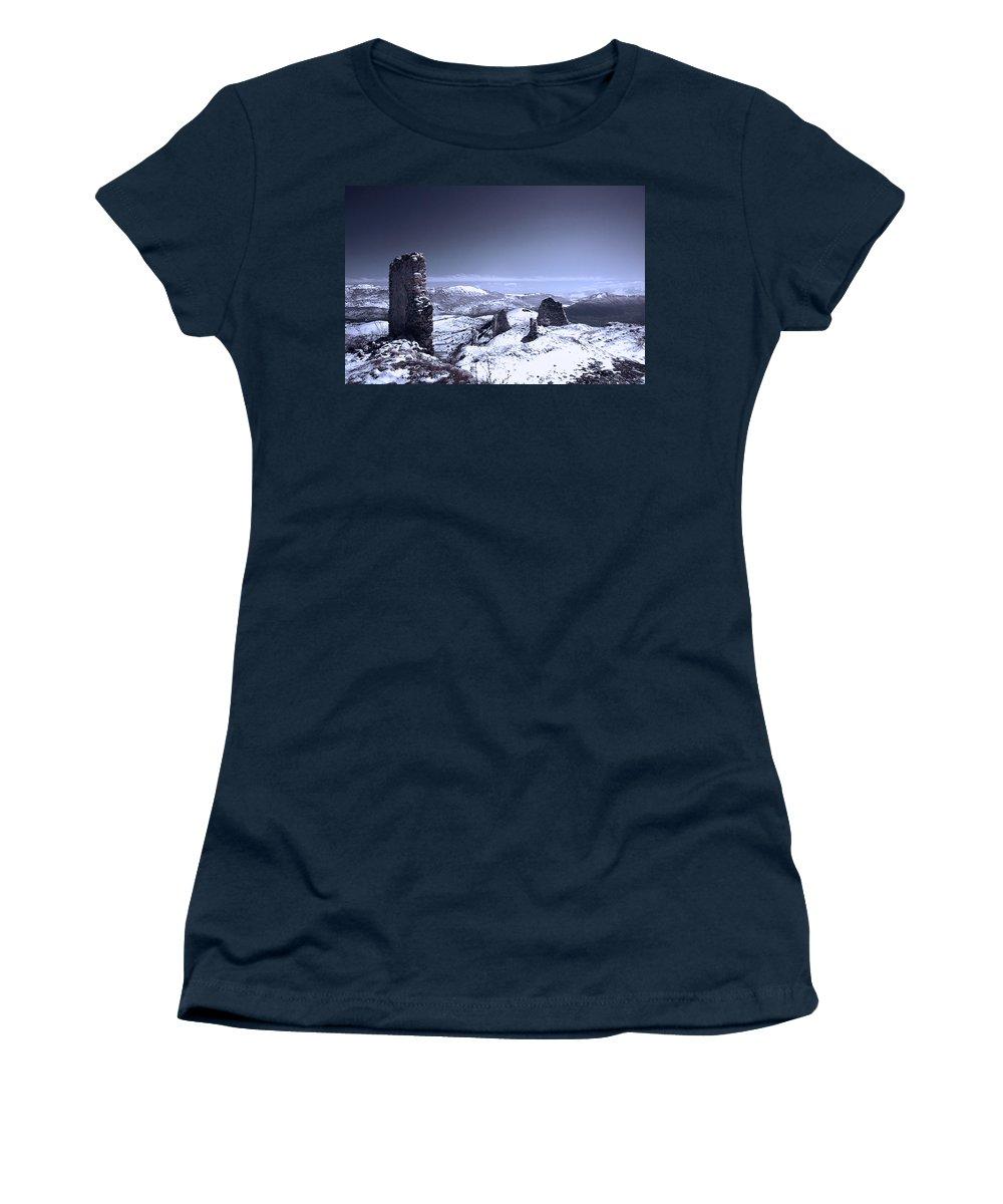 Rocca Calascio Women's T-Shirt featuring the photograph Frozen Landscape by Andrea Mazzocchetti