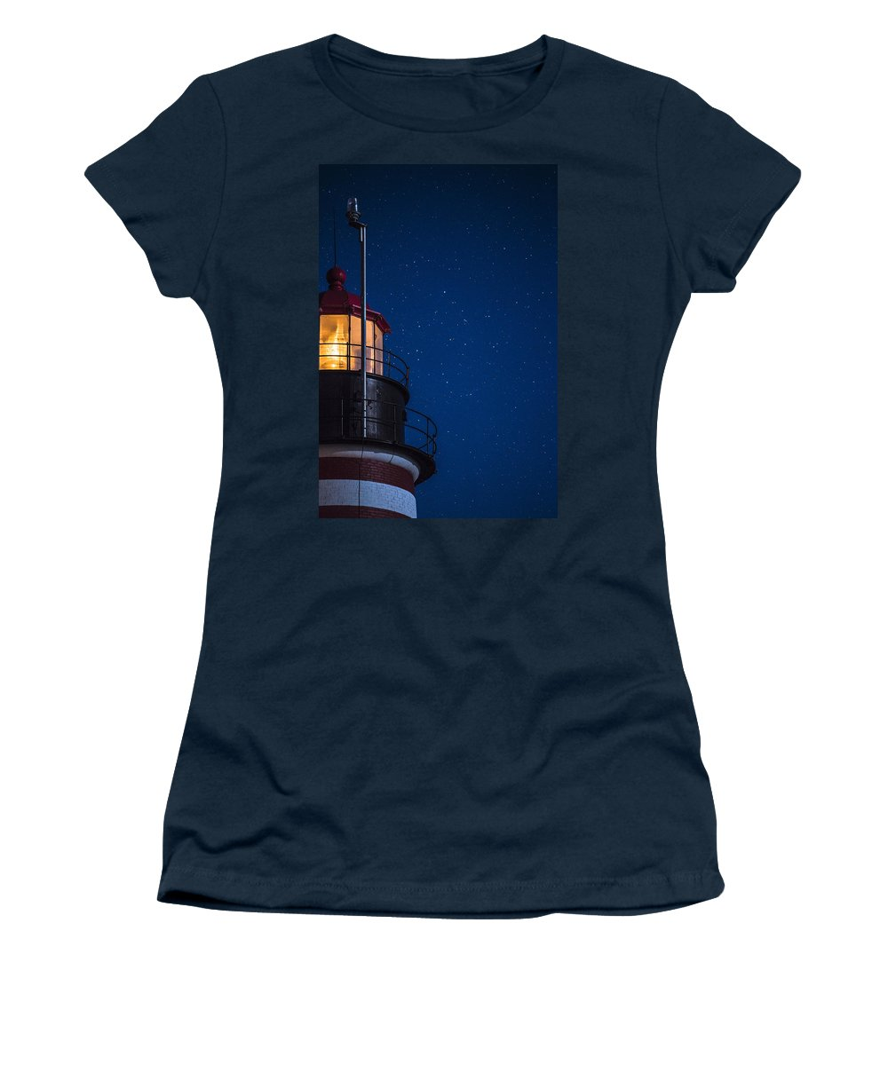 West Quoddy Head Lighthouse Women's T-Shirt featuring the photograph Full Moon On Quoddy No 2 by Marty Saccone