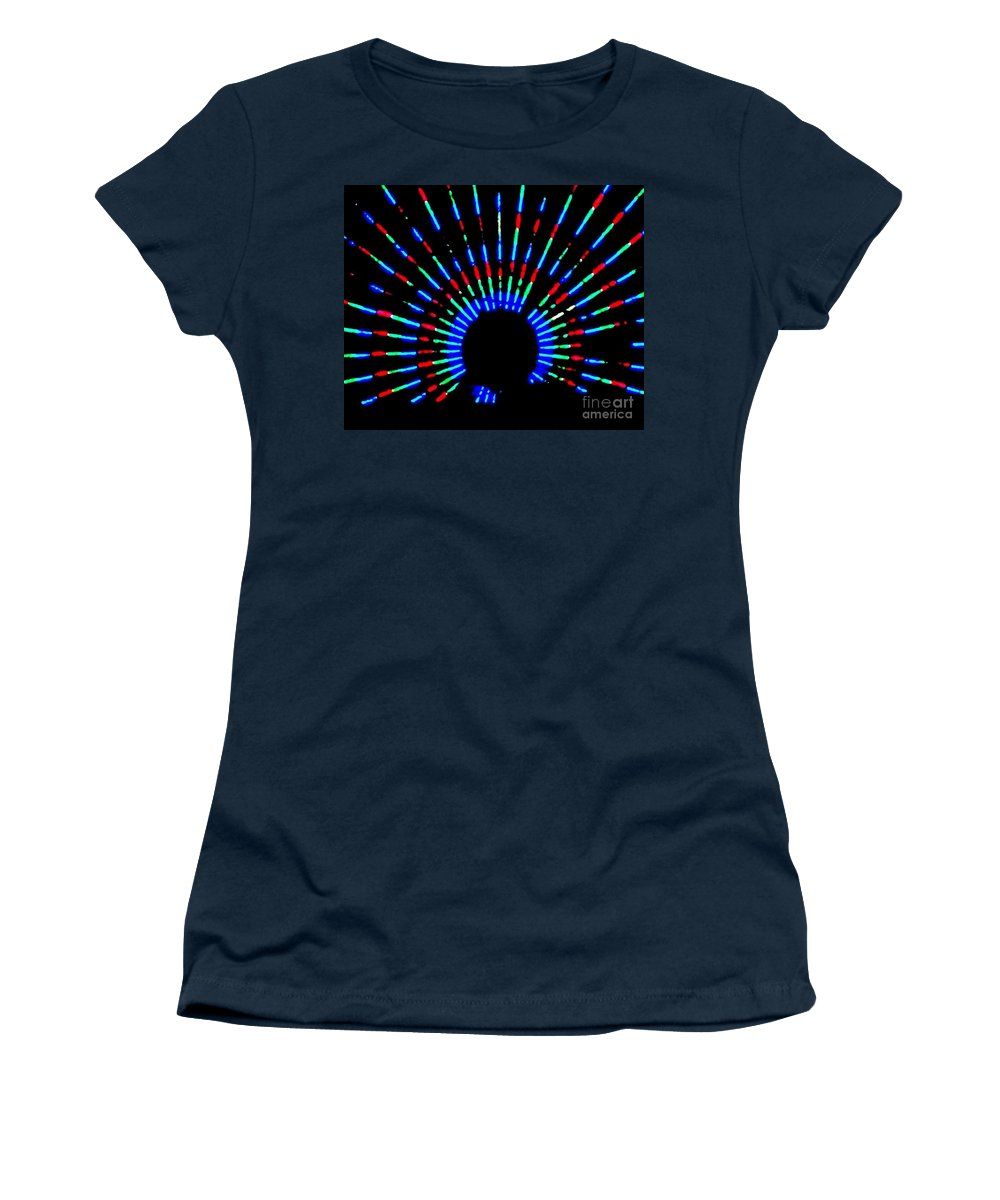 Gama Ray Women's T-Shirt (Athletic Fit) featuring the photograph Gama Ray Light Burst Abstract by Eric Schiabor
