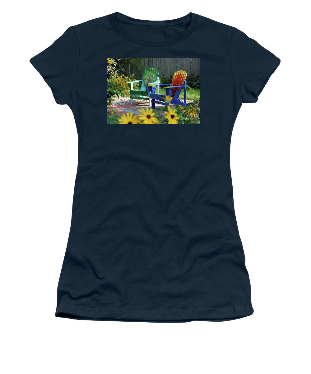 First Star Women's T-Shirt featuring the painting Garden Chairs by First Star Art