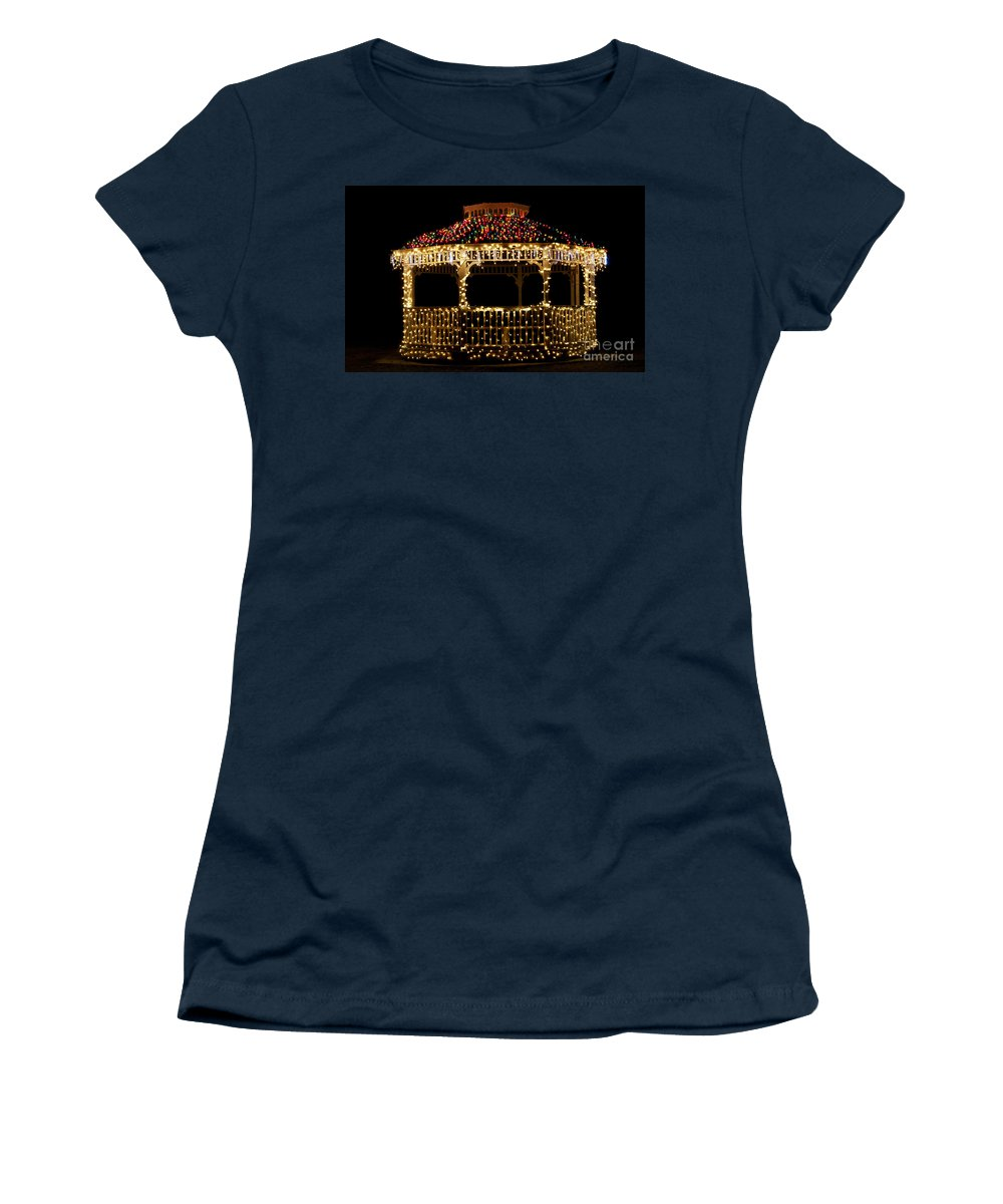 Scenic Tours Women's T-Shirt featuring the photograph Gazebo Christmas by Skip Willits