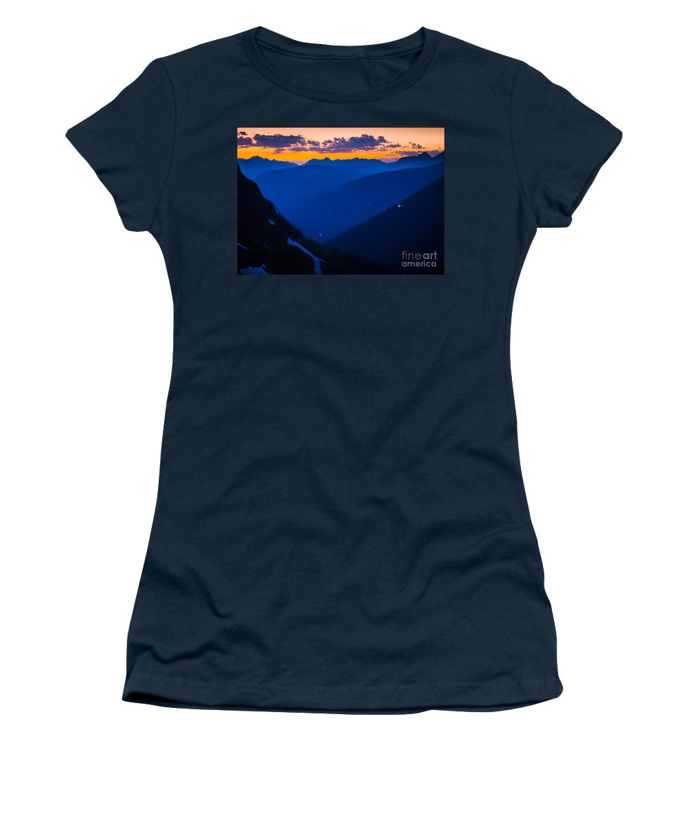 America Women's T-Shirt featuring the photograph Going-to-the-sun Sunset by Inge Johnsson