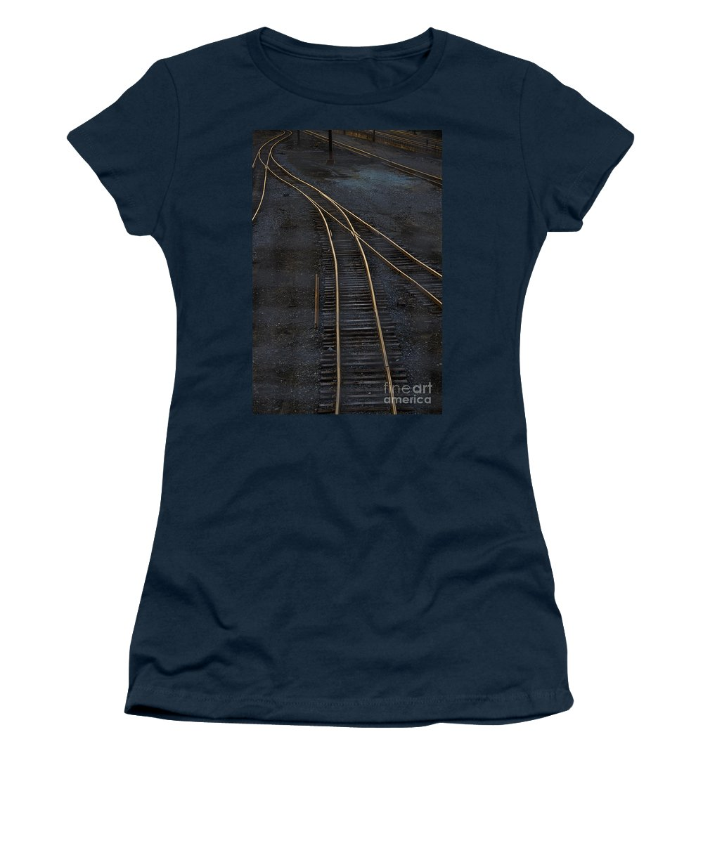 Black Women's T-Shirt featuring the photograph Golden Tracks by Margie Hurwich