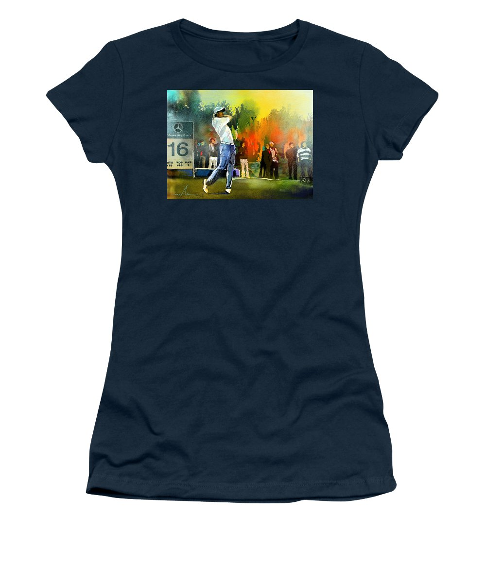 Golf Women's T-Shirt (Athletic Fit) featuring the painting Golf In Gut Laerchehof Germany 01 by Miki De Goodaboom
