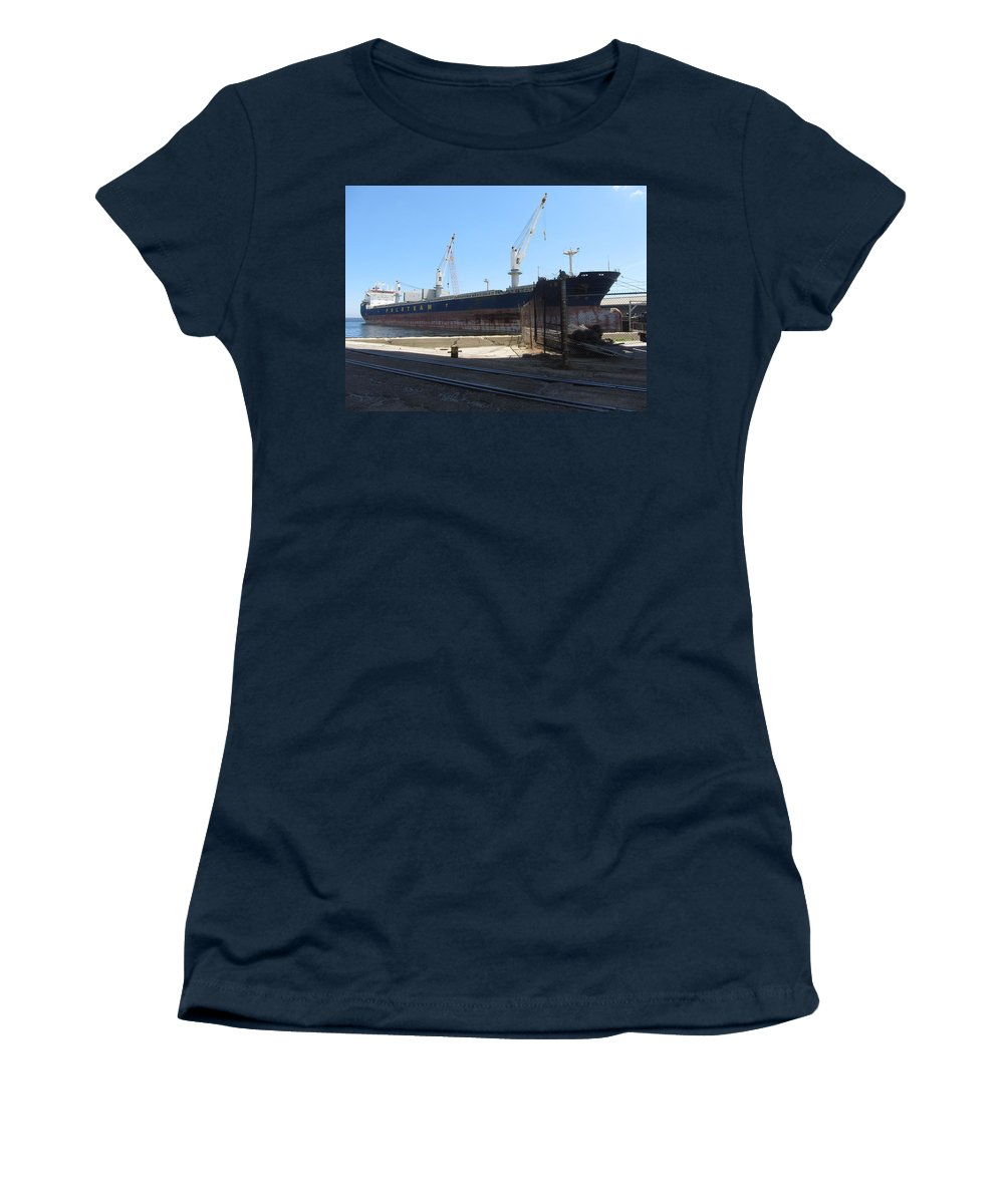 Great Lakes Women's T-Shirt featuring the photograph Great Lakes Ship Polsteam 4 by Anita Burgermeister