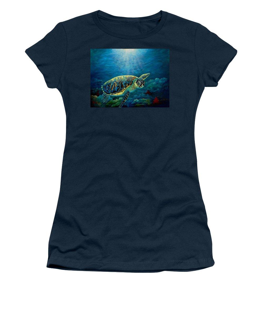 Underwater Green Sea Turtle Women's T-Shirt featuring the painting Green Sea Turtle by Fineartist Ellen