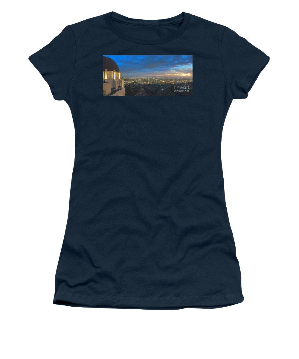 Griffith Observatory Women's T-Shirt featuring the photograph Griffith Observatory L.a. Skyline Dusk Lit Beautiful by David Zanzinger