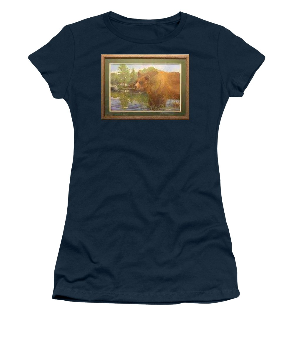 Rick Huotari Women's T-Shirt featuring the painting Grizzly by Rick Huotari