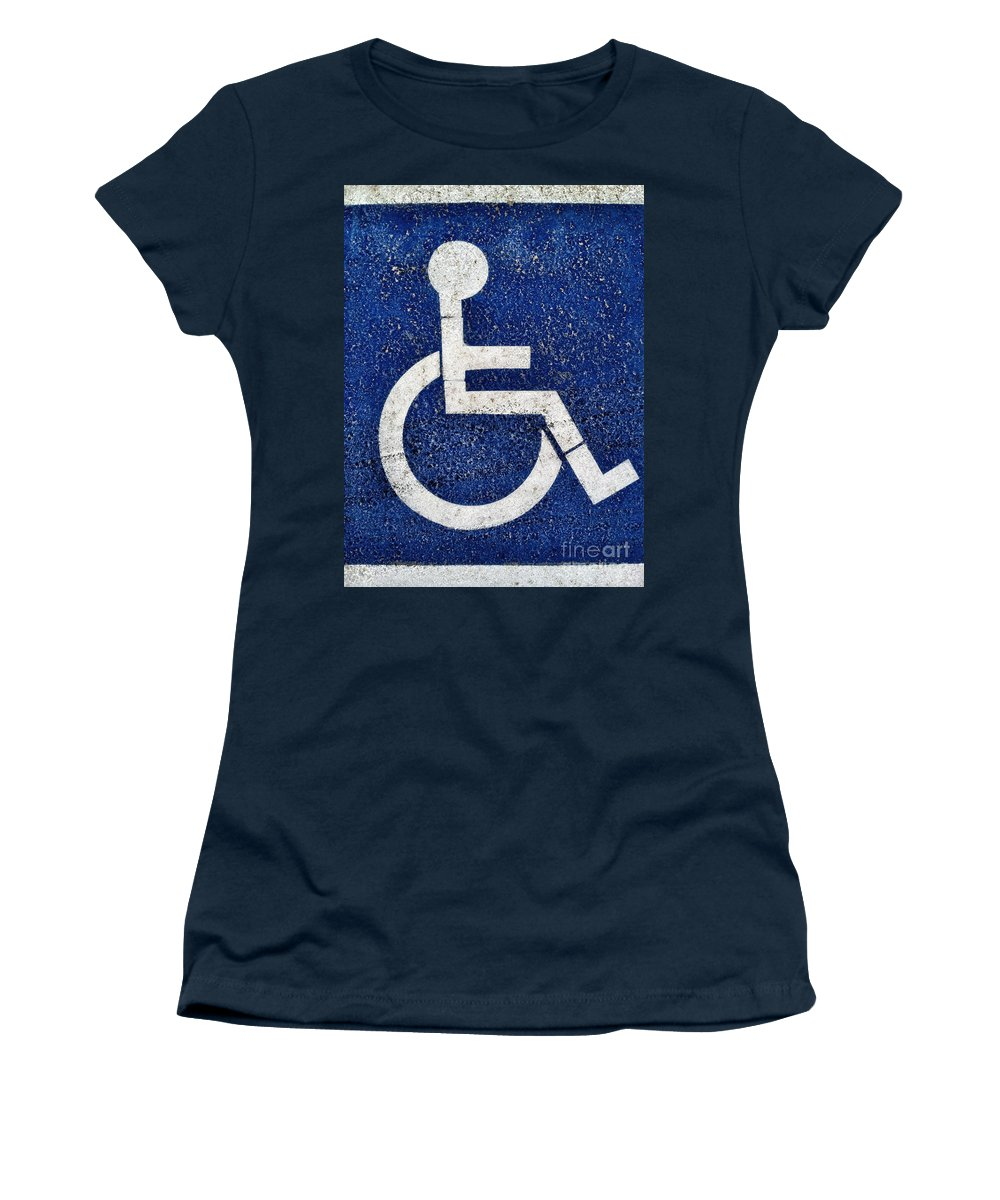 Access Women's T-Shirt featuring the photograph Handicapped Symbol by Bryan Mullennix