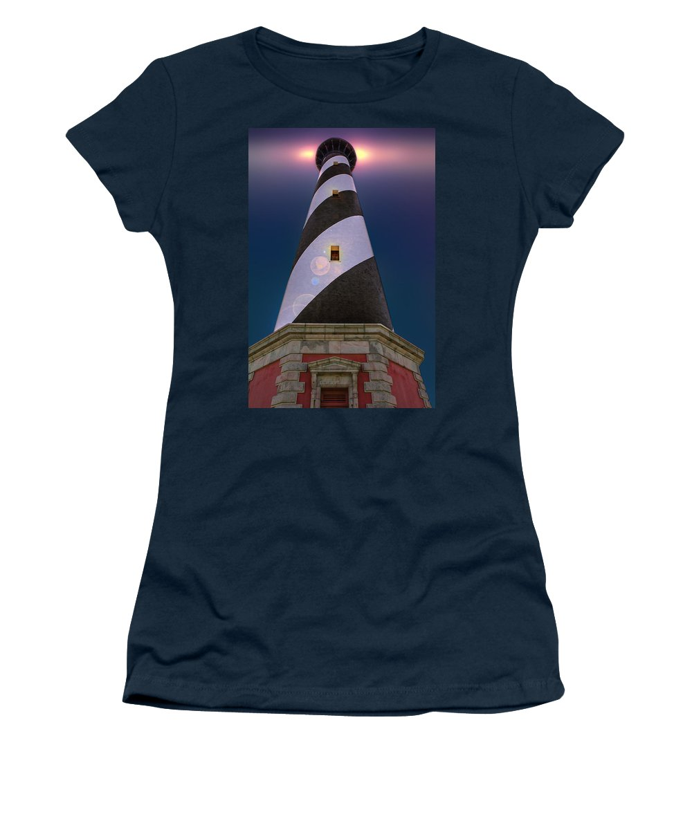 Cape Hatteras Light Station Women's T-Shirt featuring the digital art Hatteras Lighthouse At Night by Mary Almond