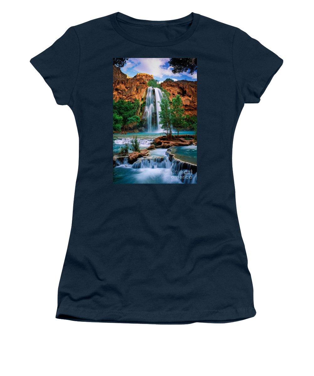 America Women's T-Shirt featuring the photograph Havasu Cascades by Inge Johnsson